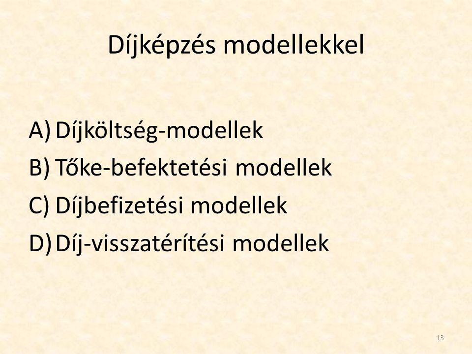 Díjképzés modellekkel A)Díjköltség-modellek B)Tőke-befektetési modellek C)Díjbefizetési modellek D)Díj-visszatérítési modellek 13