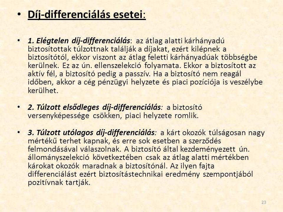 • Díj-differenciálás esetei: • 1. Elégtelen díj-differenciálás: az átlag alatti kárhányadú biztosítottak túlzottnak találják a díjakat, ezért kilépnek