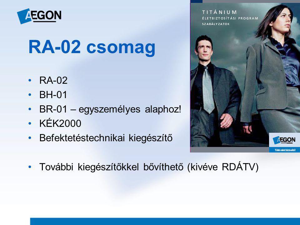 RA-02 csomag •RA-02 •BH-01 •BR-01 – egyszemélyes alaphoz! •KÉK2000 •Befektetéstechnikai kiegészítő •További kiegészítőkkel bővíthető (kivéve RDÁTV)