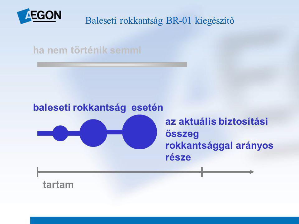 ha nem történik semmi tartam baleseti rokkantság esetén az aktuális biztosítási összeg rokkantsággal arányos része Baleseti rokkantság BR-01 kiegészítő