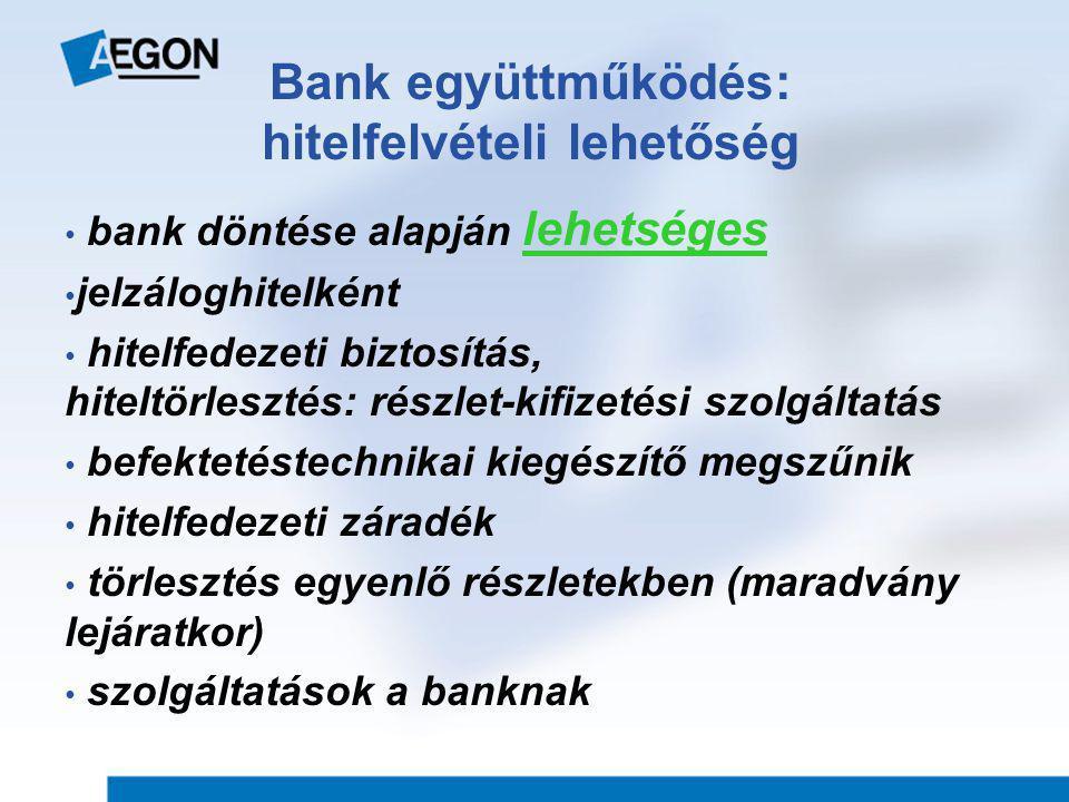 Bank együttműködés: hitelfelvételi lehetőség • bank döntése alapján lehetséges • jelzáloghitelként • hitelfedezeti biztosítás, hiteltörlesztés: részlet-kifizetési szolgáltatás • befektetéstechnikai kiegészítő megszűnik • hitelfedezeti záradék • törlesztés egyenlő részletekben (maradvány lejáratkor) • szolgáltatások a banknak