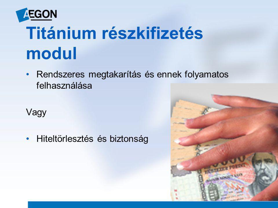 Titánium részkifizetés modul •Rendszeres megtakarítás és ennek folyamatos felhasználása Vagy •Hiteltörlesztés és biztonság