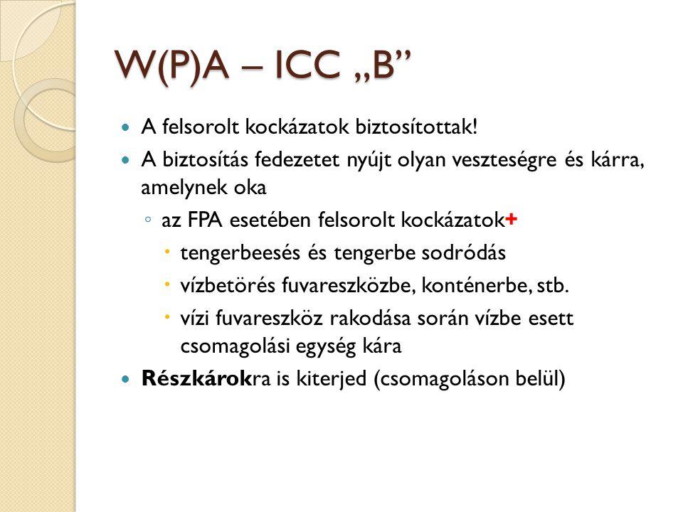 """W(P)A – ICC """"B  A felsorolt kockázatok biztosítottak."""