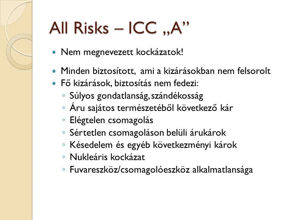 """All Risks – ICC """"A  Nem megnevezett kockázatok."""