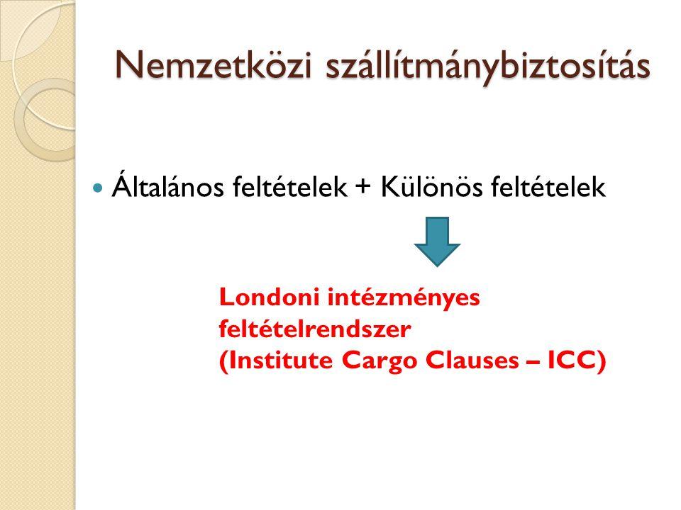 Nemzetközi szállítmánybiztosítás  Általános feltételek + Különös feltételek Londoni intézményes feltételrendszer (Institute Cargo Clauses – ICC)