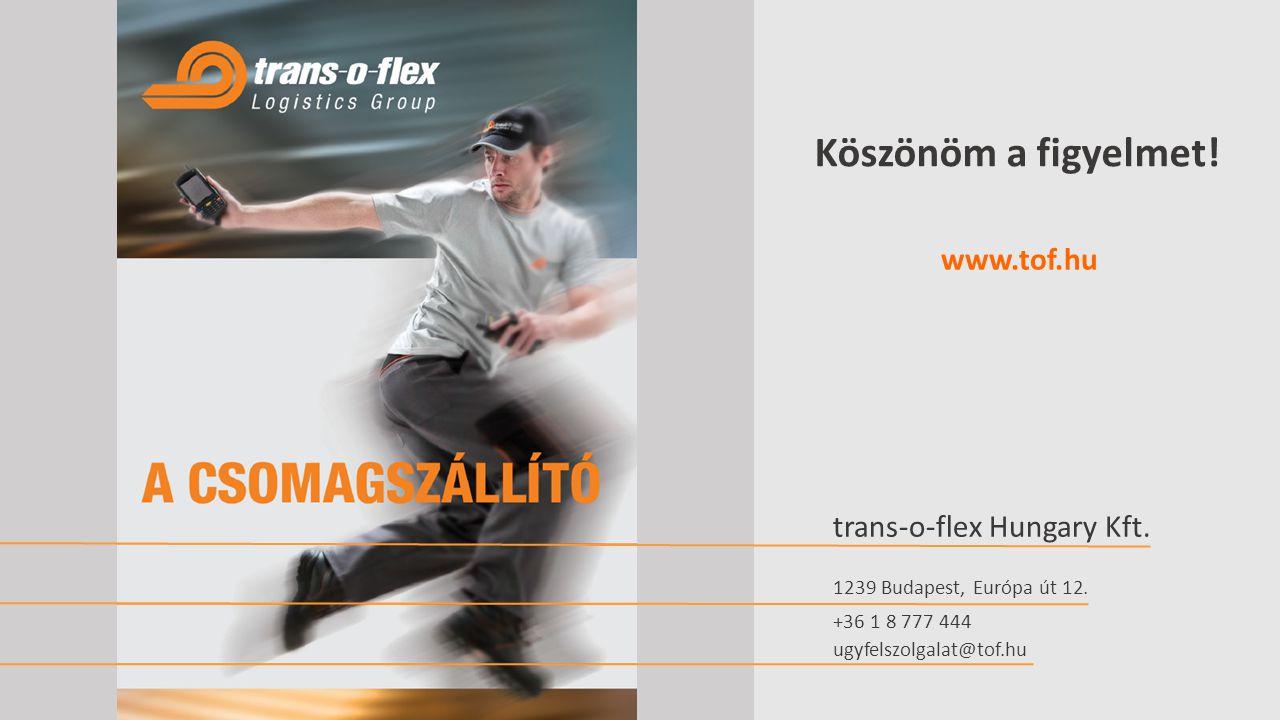 Köszönöm a figyelmet.trans-o-flex Hungary Kft. www.tof.hu 1239 Budapest, Európa út 12.
