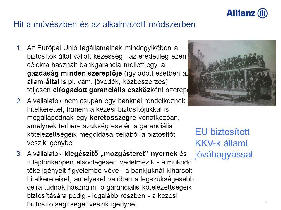 8 Hit a művészben és az alkalmazott módszerben 1.Az Európai Unió tagállamainak mindegyikében a biztosítók által vállalt kezesség - az eredetileg ezen célokra használt bankgarancia mellett egy, a gazdaság minden szereplője (így adott esetben az állam által is pl.