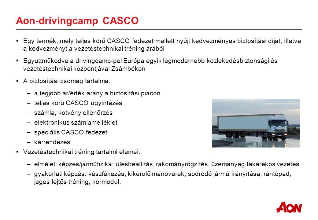 Az Aon biztosításokhoz kapcsolódó szolgáltatásai CMR/BÁF  Igénynek megfelelő limit, önrész kialakítása  Cabotage fedezet elérése a piacon (Németország esetén 600 000 EUR / 1 200 000 EUR limit)  8,33 SDR/kg súlykorlát maximális figyelembe vétele (Libatoll – Vasáru)  Kiegészítő szállítmány biztosítás kialakítás szükség esetén  BÁF szükséges-e.