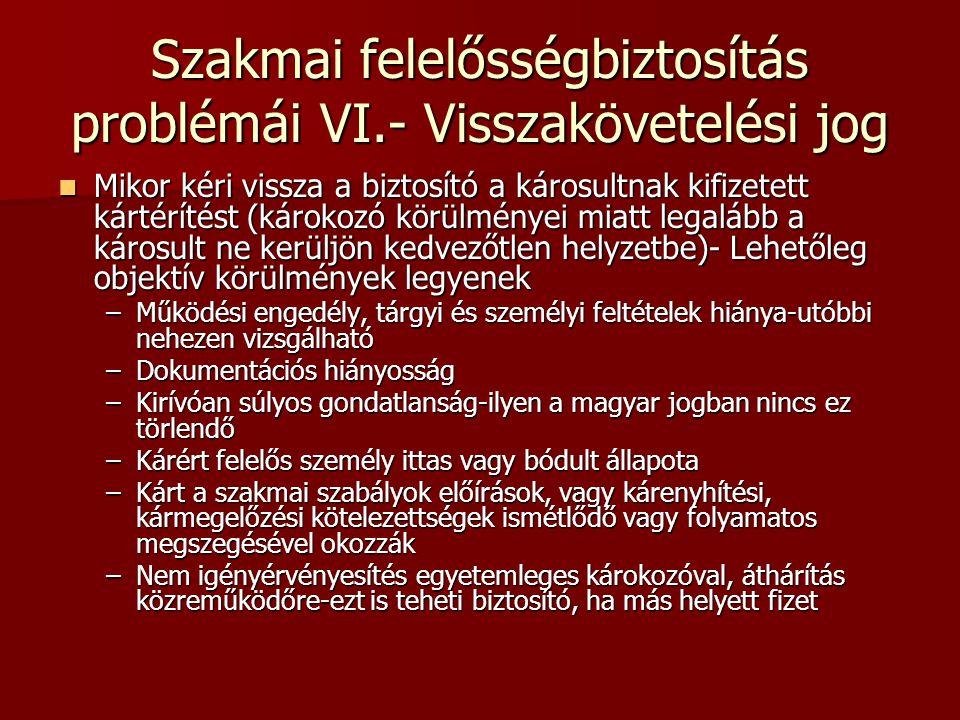 Szakmai felelősségbiztosítás problémái VI.- Visszakövetelési jog  Mikor kéri vissza a biztosító a károsultnak kifizetett kártérítést (károkozó körülm