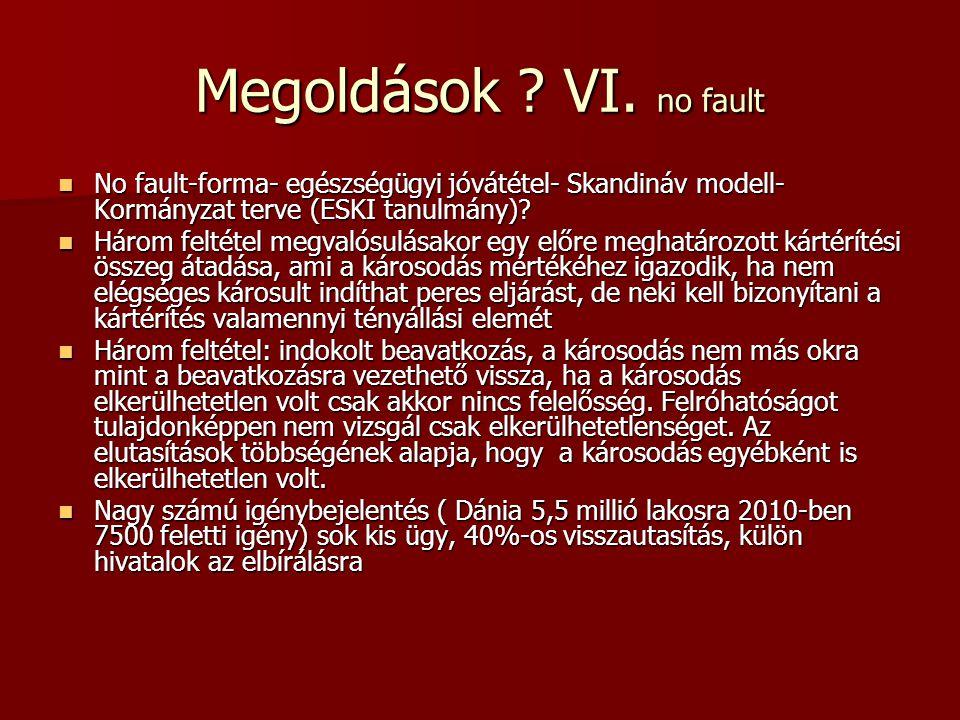 Megoldások ? VI. no fault  No fault-forma- egészségügyi jóvátétel- Skandináv modell- Kormányzat terve (ESKI tanulmány)?  Három feltétel megvalósulás