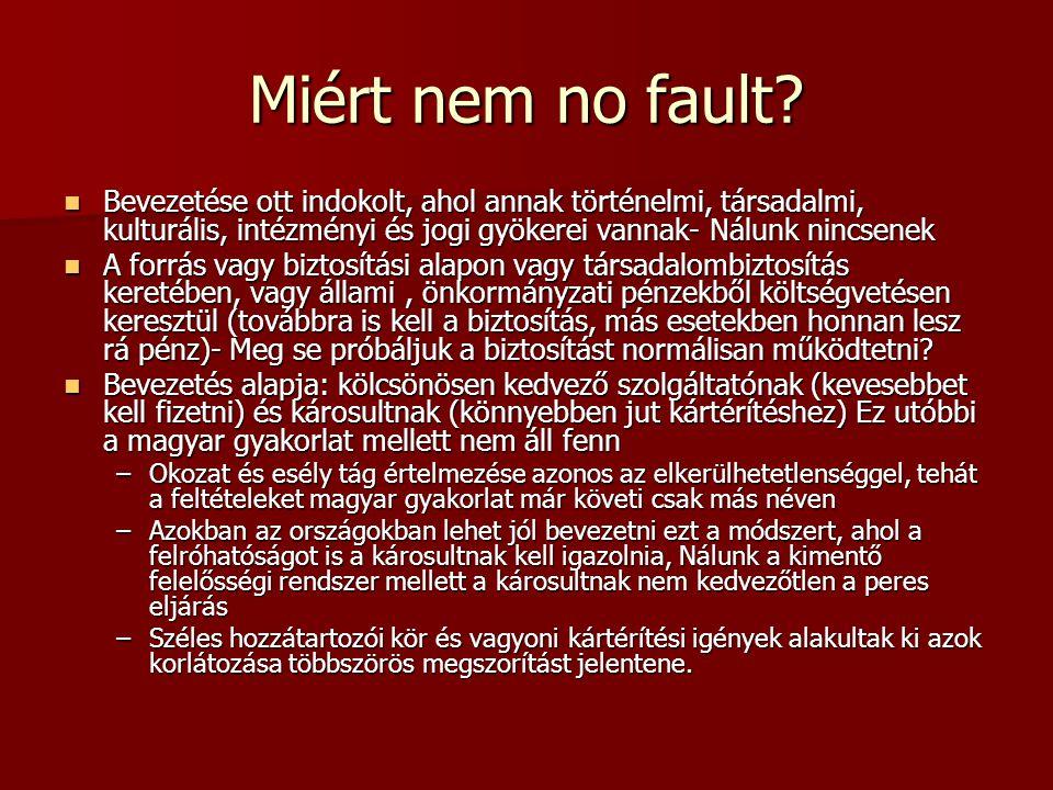 Miért nem no fault?  Bevezetése ott indokolt, ahol annak történelmi, társadalmi, kulturális, intézményi és jogi gyökerei vannak- Nálunk nincsenek  A