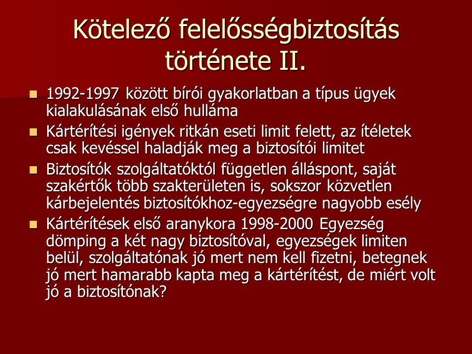 Kötelező felelősségbiztosítás története II.  1992-1997 között bírói gyakorlatban a típus ügyek kialakulásának első hulláma  Kártérítési igények ritk