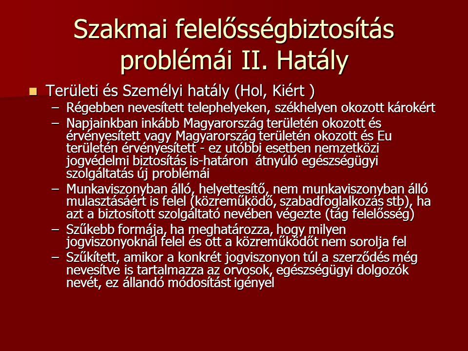 Szakmai felelősségbiztosítás problémái II. Hatály  Területi és Személyi hatály (Hol, Kiért ) –Régebben nevesített telephelyeken, székhelyen okozott k