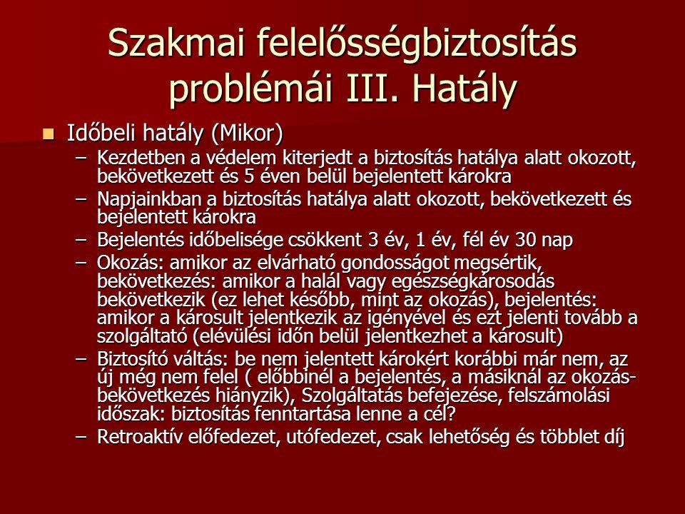 Szakmai felelősségbiztosítás problémái III. Hatály  Időbeli hatály (Mikor) –Kezdetben a védelem kiterjedt a biztosítás hatálya alatt okozott, bekövet