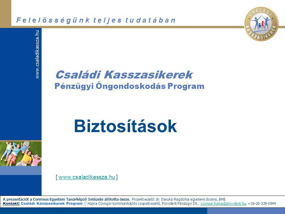 F e l e l ő s s é g ü n k t e l j e s t u d a t á b a n http://www.biztositas.hu Biztosítás az interneten keresztül
