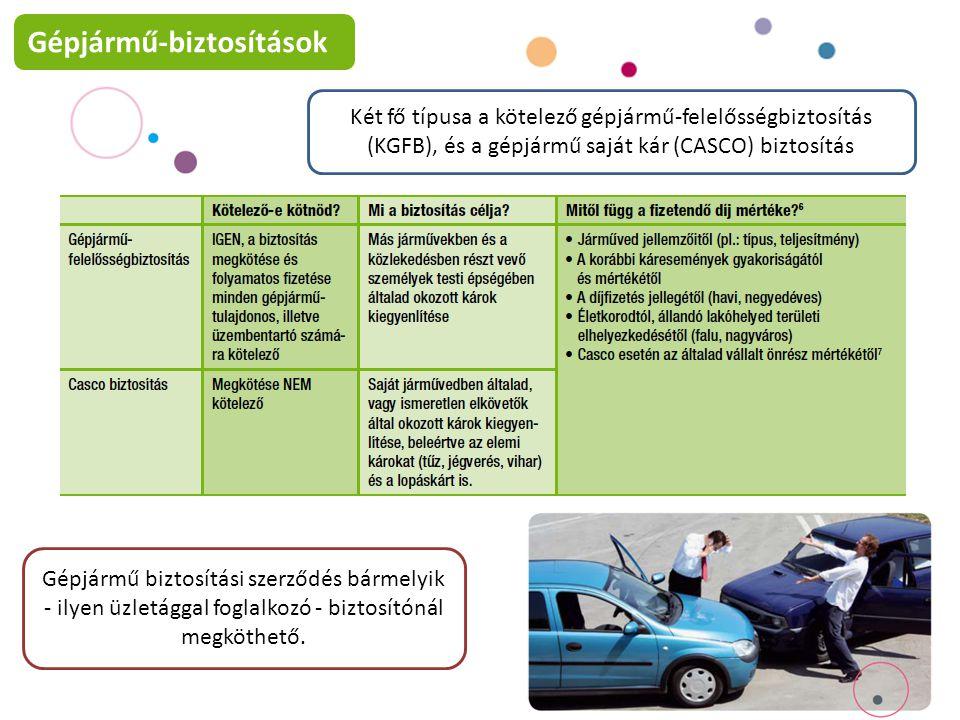 Két fő típusa a kötelező gépjármű-felelősségbiztosítás (KGFB), és a gépjármű saját kár (CASCO) biztosítás Gépjármű biztosítási szerződés bármelyik - ilyen üzletággal foglalkozó - biztosítónál megköthető.