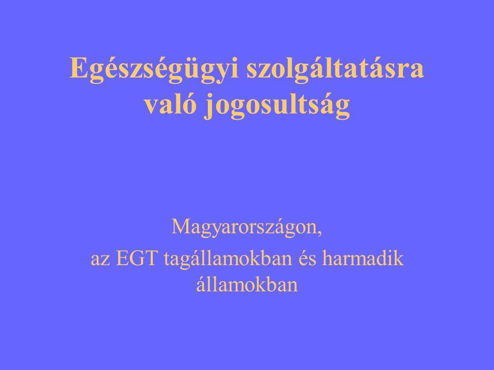 Egészségügyi szolgáltatásra való jogosultság Magyarországon, az EGT tagállamokban és harmadik államokban