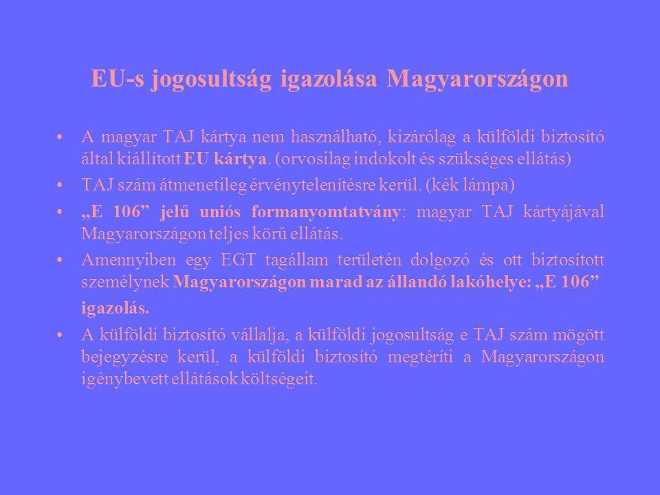 EU-s jogosultság igazolása Magyarországon •A magyar TAJ kártya nem használható, kizárólag a külföldi biztosító által kiállított EU kártya.
