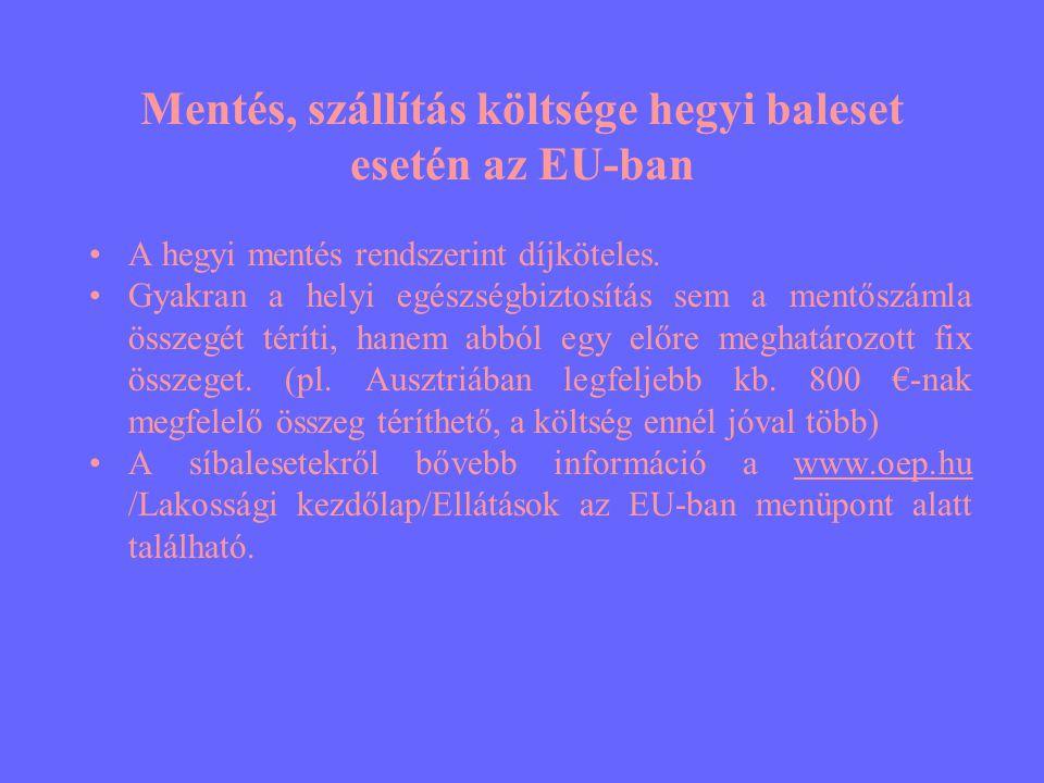 Mentés, szállítás költsége hegyi baleset esetén az EU-ban •A hegyi mentés rendszerint díjköteles. •Gyakran a helyi egészségbiztosítás sem a mentőszáml