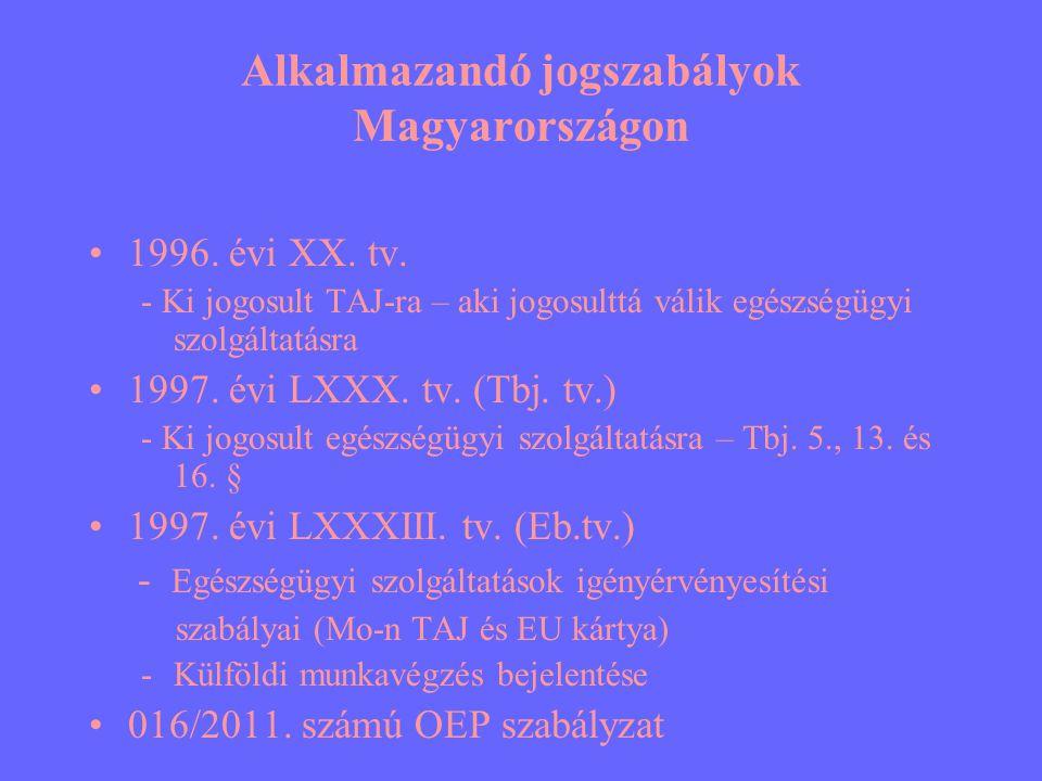 Alkalmazandó jogszabályok Magyarországon •1996. évi XX. tv. - Ki jogosult TAJ-ra – aki jogosulttá válik egészségügyi szolgáltatásra •1997. évi LXXX. t