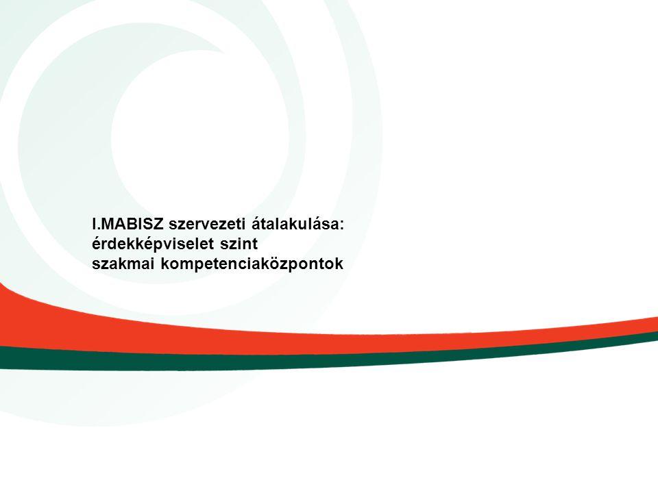 I.MABISZ szervezeti átalakulása: érdekképviselet szint szakmai kompetenciaközpontok