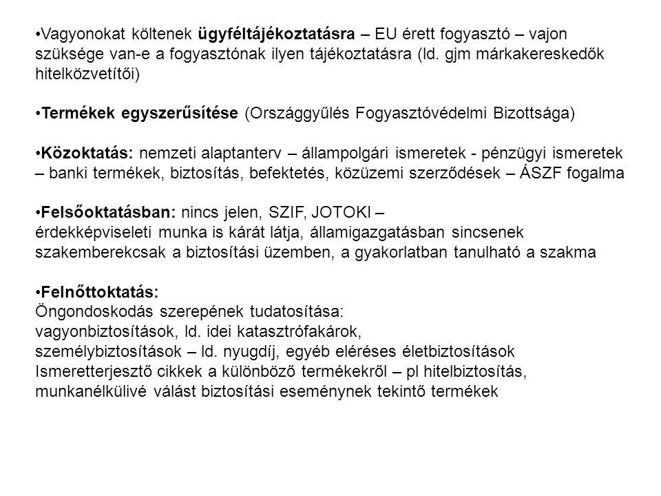 •Vagyonokat költenek ügyféltájékoztatásra – EU érett fogyasztó – vajon szüksége van-e a fogyasztónak ilyen tájékoztatásra (ld.