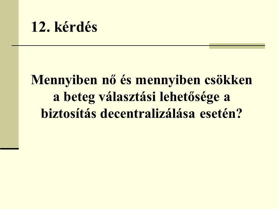 12. kérdés Mennyiben nő és mennyiben csökken a beteg választási lehetősége a biztosítás decentralizálása esetén?