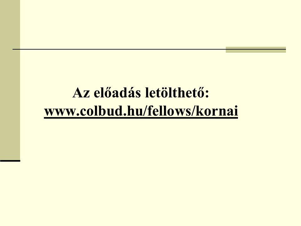 Az előadás letölthető: www.colbud.hu/fellows/kornai www.colbud.hu/fellows/kornai