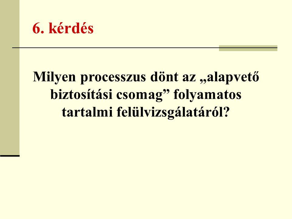 """6. kérdés Milyen processzus dönt az """"alapvető biztosítási csomag"""" folyamatos tartalmi felülvizsgálatáról?"""