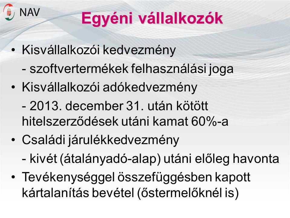 Egyéni vállalkozók •Kisvállalkozói kedvezmény - szoftvertermékek felhasználási joga •Kisvállalkozói adókedvezmény - 2013. december 31. után kötött hit