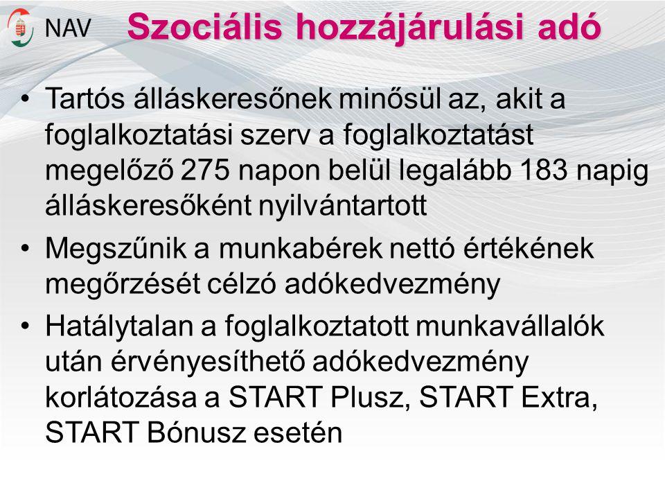 Szociális hozzájárulási adó •Tartós álláskeresőnek minősül az, akit a foglalkoztatási szerv a foglalkoztatást megelőző 275 napon belül legalább 183 na