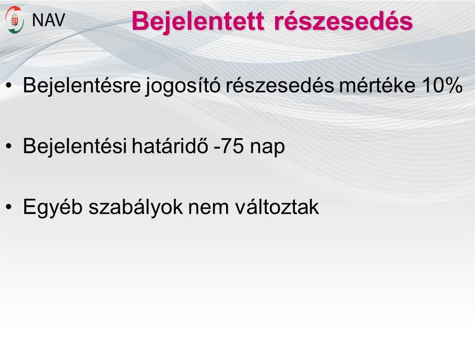 Bejelentett részesedés •Bejelentésre jogosító részesedés mértéke 10% •Bejelentési határidő -75 nap •Egyéb szabályok nem változtak