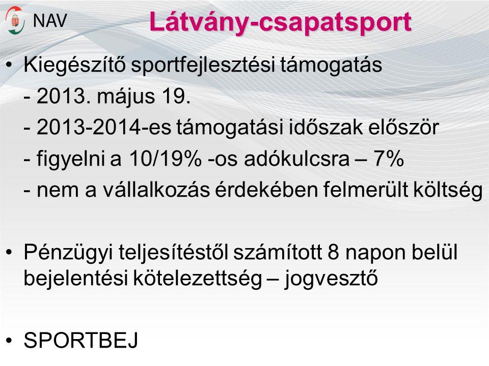 Látvány-csapatsport •Kiegészítő sportfejlesztési támogatás - 2013. május 19. - 2013-2014-es támogatási időszak először - figyelni a 10/19% -os adókulc