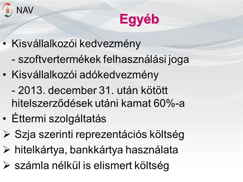 Egyéb •Kisvállalkozói kedvezmény - szoftvertermékek felhasználási joga •Kisvállalkozói adókedvezmény - 2013. december 31. után kötött hitelszerződések