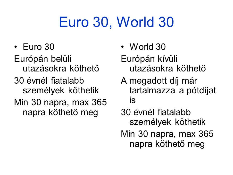 Euro 30, World 30 •Euro 30 Európán belüli utazásokra köthető 30 évnél fiatalabb személyek köthetik Min 30 napra, max 365 napra köthető meg •World 30 Európán kívüli utazásokra köthető A megadott díj már tartalmazza a pótdíjat is 30 évnél fiatalabb személyek köthetik Min 30 napra, max 365 napra köthető meg