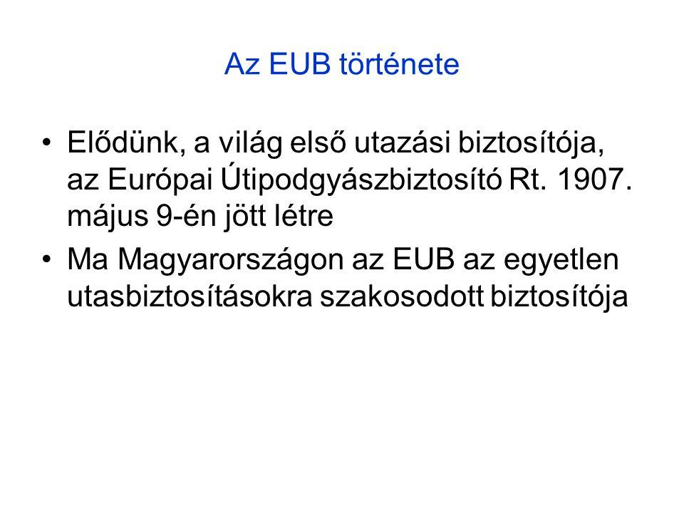 Az EUB története •Elődünk, a világ első utazási biztosítója, az Európai Útipodgyászbiztosító Rt.