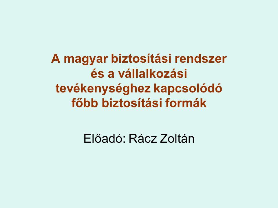 A magyar biztosítási rendszer és a vállalkozási tevékenységhez kapcsolódó főbb biztosítási formák Előadó: Rácz Zoltán