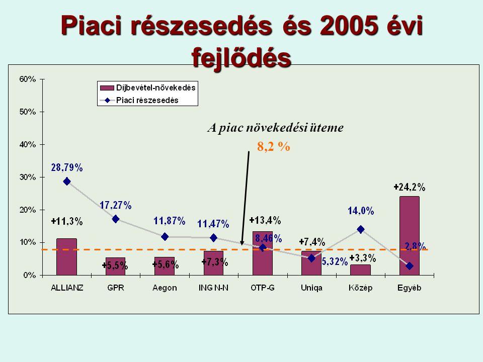 Piaci részesedés és 2005 évi fejlődés A piac növekedési üteme 8,2 %