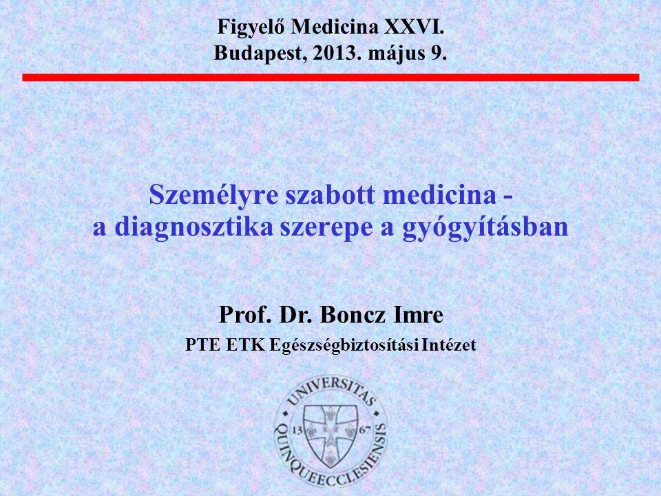 Személyre szabott medicina - a diagnosztika szerepe a gyógyításban Prof. Dr. Boncz Imre PTE ETK Egészségbiztosítási Intézet Figyelő Medicina XXVI. Bud
