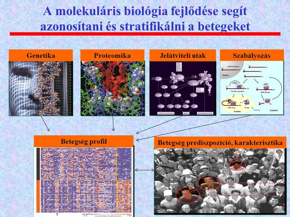 A molekuláris biológia fejlődése segít azonosítani és stratifikálni a betegeket GenetikaProteomikaJelátviteli utak Szabályozás Betegség profil Betegsé