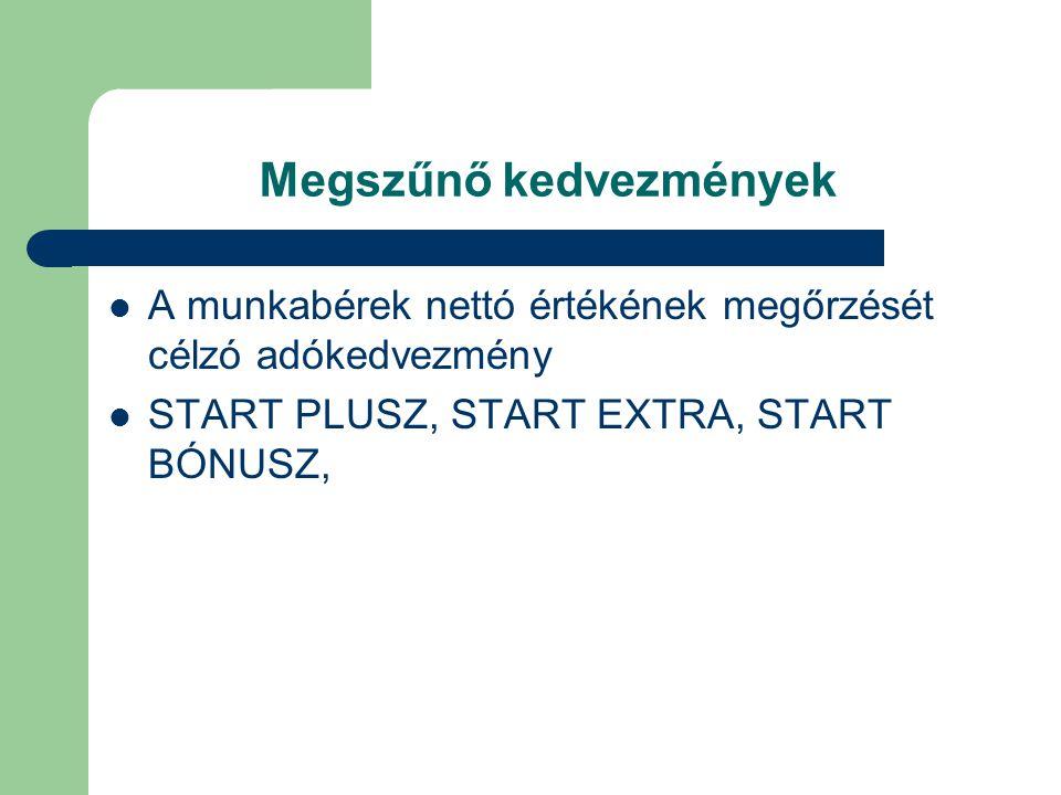 Megszűnő kedvezmények  A munkabérek nettó értékének megőrzését célzó adókedvezmény  START PLUSZ, START EXTRA, START BÓNUSZ,