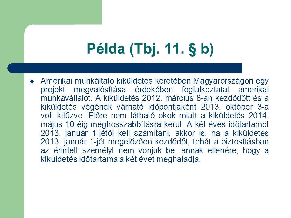 Példa (Tbj. 11. § b)  Amerikai munkáltató kiküldetés keretében Magyarországon egy projekt megvalósítása érdekében foglalkoztatat amerikai munkavállal