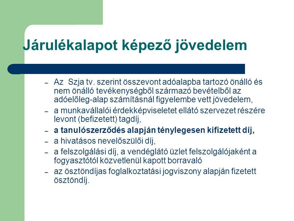 Járulékalapot képező jövedelem – Az Szja tv. szerint összevont adóalapba tartozó önálló és nem önálló tevékenységből származó bevételből az adóelőleg-