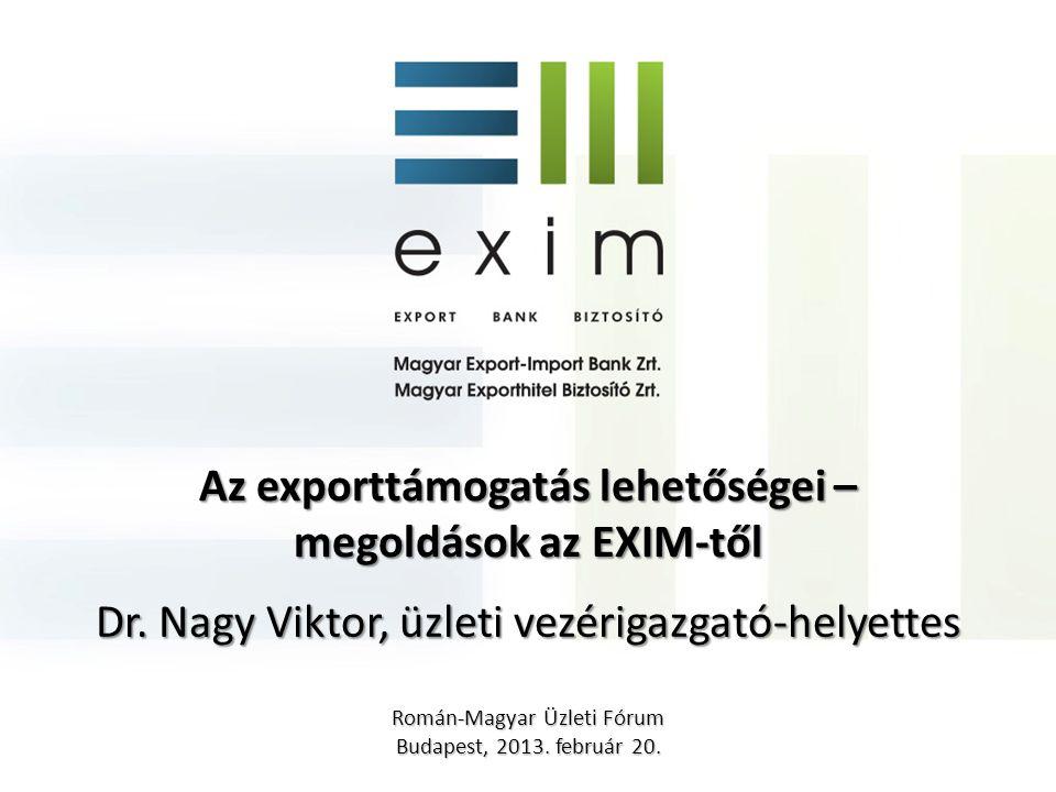 """Állami exportösztönzés 2 Exporthitel ügynökségi feladatok, állami kockázatvállalás, finanszírozás nyújtása Külgazdasági Stratégia, Wekerle Terv, """"keleti nyitás Partnereink: HITA, kamarák, ipartestületek, Kárpát Régió Üzleti Hálózat, Széchenyi Programirodák Eximbank és MEHIB küldetése, feladata: Olyan kockázatok vállalása, ügyletek finanszírozása, amelyet a kereskedelmi bankok, biztosítók nem tudnak felvállalni önállóan!"""