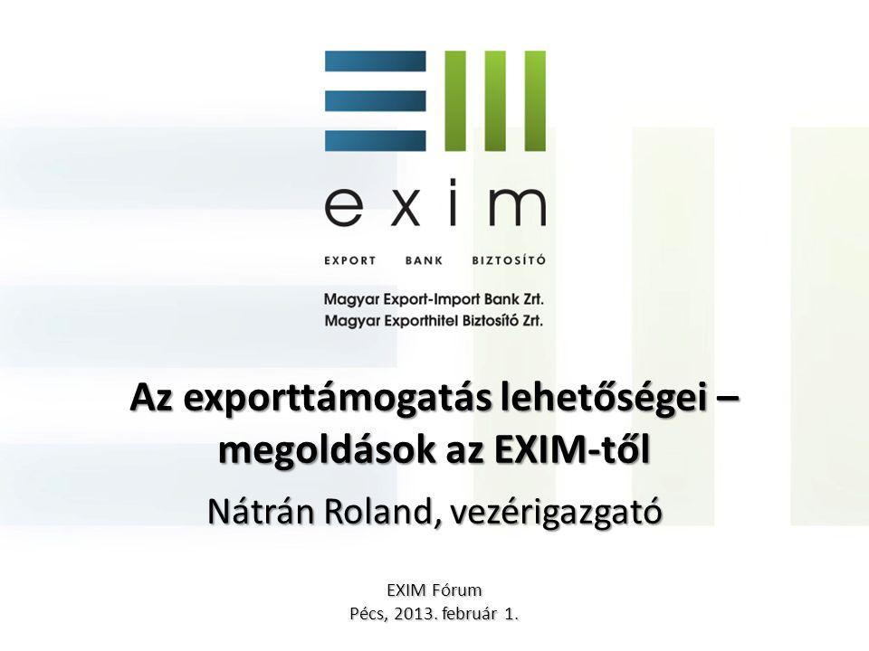 Az exporttámogatás lehetőségei – megoldások az EXIM-től Nátrán Roland, vezérigazgató EXIM Fórum Pécs, 2013. február 1.