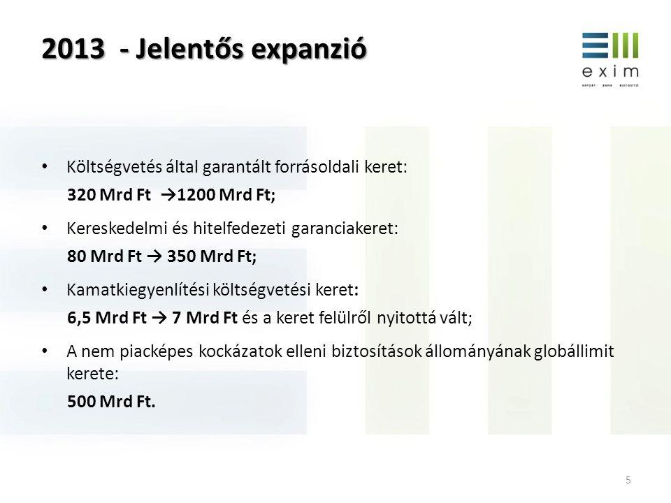 2013 - Jelentős expanzió 5 • Költségvetés által garantált forrásoldali keret: 320 Mrd Ft →1200 Mrd Ft; • Kereskedelmi és hitelfedezeti garanciakeret: