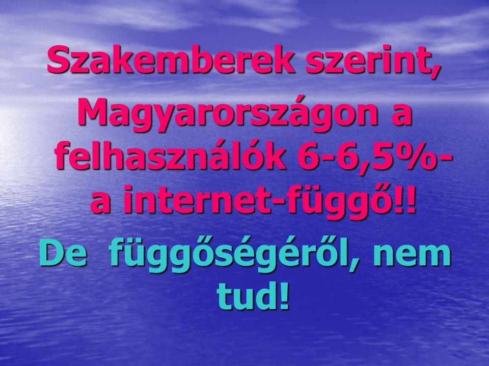 Szakemberek szerint, Magyarországon a felhasználók 6-6,5%- a internet-függő!! De függőségéről, nem tud!