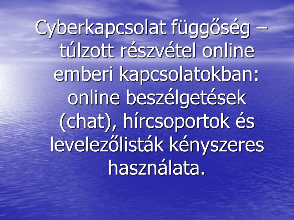 Cyberkapcsolat függőség – túlzott részvétel online emberi kapcsolatokban: online beszélgetések (chat), hírcsoportok és levelezőlisták kényszeres haszn