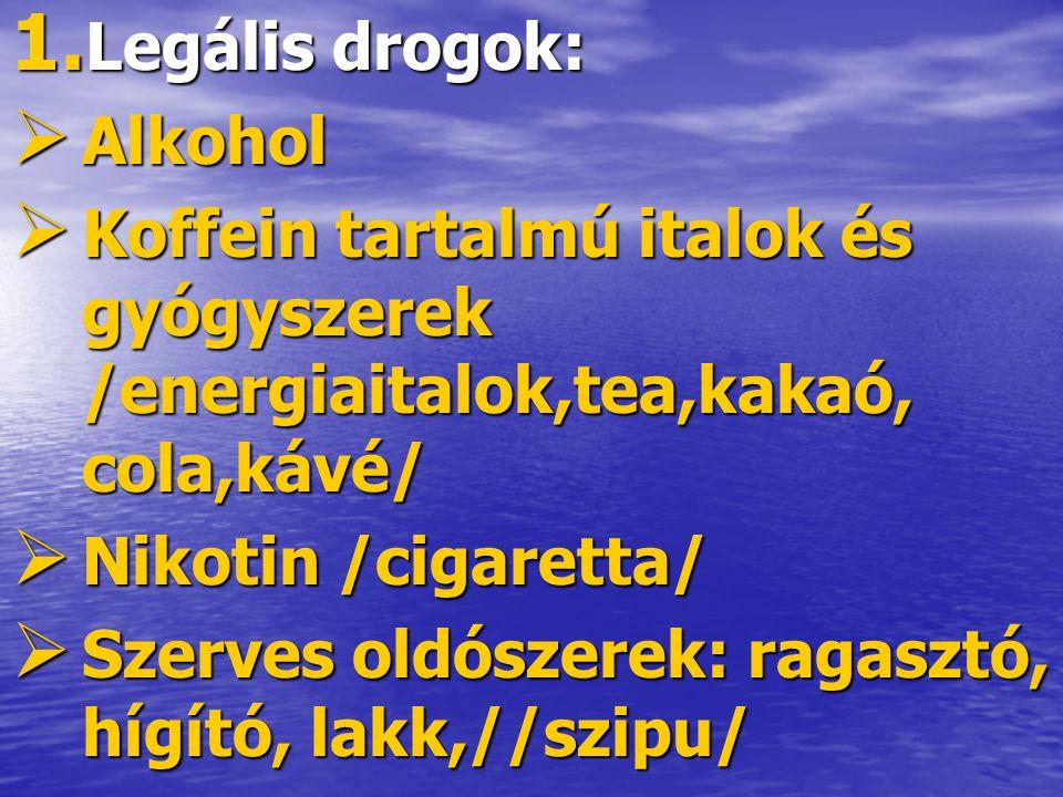 1. Legális drogok:  Alkohol  Koffein tartalmú italok és gyógyszerek /energiaitalok,tea,kakaó, cola,kávé/  Nikotin /cigaretta/  Szerves oldószerek:
