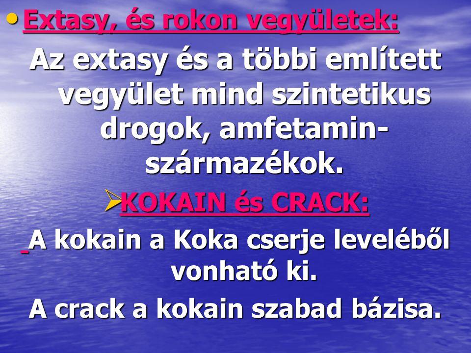 • Extasy, és rokon vegyületek: Az extasy és a többi említett vegyület mind szintetikus drogok, amfetamin- származékok.  KOKAIN és CRACK: A kokain a K